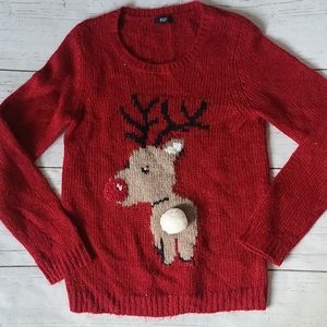 F&F Reindeer Red Crew Neck Sweater Size 10